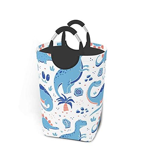 IUBBKI Cestas de lavandería Dibujos Animados Dinosaurios Divertidos Paquete de Ropa Sucia con Asas para el hogar Calcetines Camping 50L