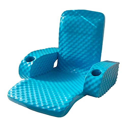 TRC Recreation Folding Baja Floating Swimming Pool Portable Water Lounger Comfortable Recliner Chair with 2 Armrest Cup Holders, Marina Blue