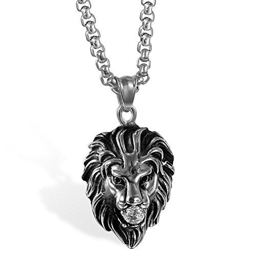 JewelryWe Gioielli Collana da Uomo Punk Rocky in Acciaio Inossidabile Gotico con Diamante, Ciondolo Testa di Leone, Colore Argrento e Oro(con Borsa Regalo)
