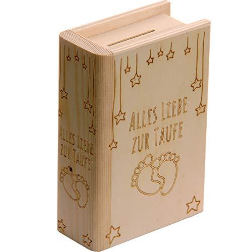 Spruchreif PREMIUM QUALITÄT 100% EMOTIONAL · Spardose Buch aus Holz mit Gravur zur Taufe · Motiv Babyfüße · Sparbüchse für Jungen & Mädchen · Taufgeschenk