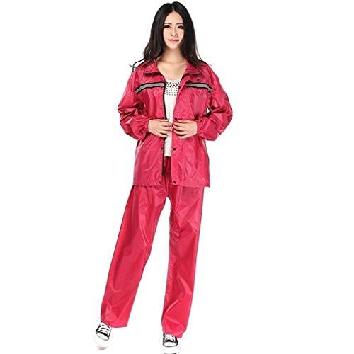 Waterdichte Regenjas Set herbruikbare volwassen mannen en vrouwen Outdoor Travel Ruiter Suit (Color : Red, Size : XX-Large)