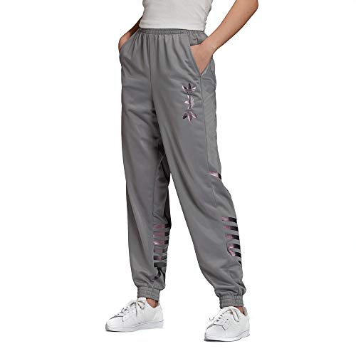 adidas Originals Women's Large Logo Track Pant Solid Gray/True Pink Small