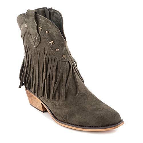 Toocool – Botas de Mujer Texani Western Cowboy con Flecos de Ante Zapatillas Casual G631 Verde Size: 38 EU