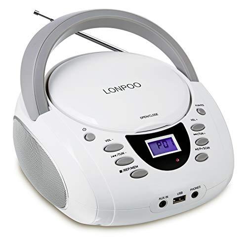 Radio Portatili Boombox, LONPOO Lettore CD Bambini Stereo Audio con Bluetooth, USB, AUX-IN, Uscita Cuffie
