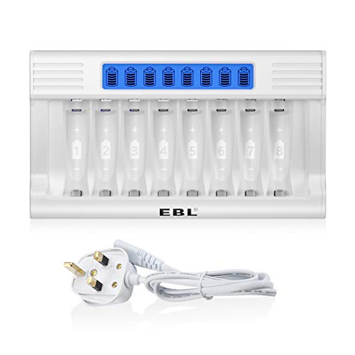 EBL Updated LCD 8 Slots Battery Charger for AA AAA Rechargeable Batteries,...
