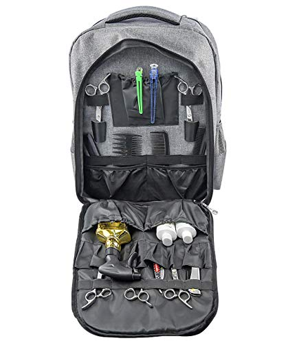 Hairdressing Backpack, Multifunctional Professional Salon Makeup Tool Bag, Portable-Barber Bag, Waterproof Storage Bag, Barber Backpack-Mobile Barber Shop (gray)