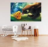 "3D Wall Sticker for Pokemon Pikachu 252 Japan Anime Pegatinas de pared Vinilo Murales de pared Impresión Autoadhesivo ES Angelia (Vinilo (Sin pegamento y removible), 【19.7"" x 19.7""】50x50cm(WxH))"