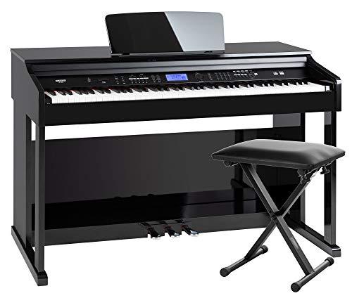 FunKey DP-2688A SH Digitalpiano Set - 88 anschlagsdynamische Tasten - Hammermechanik - 128-fach polyphon - 360 Sounds - 160 Styles - Spar-Set inkl. Keyboardbank - schwarz Hochglanz
