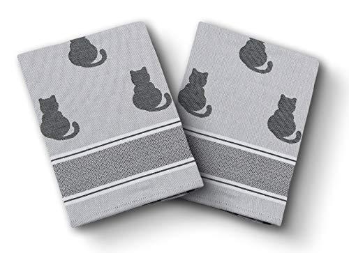 saewelo 2er-Set Geschirrtücher in Geschenkverpackung   50 x 70 cm   100% Baumwolle   Küchentücher   Trockentücher   Baumwolltücher (Katze, Grau)