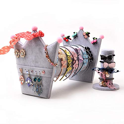 Willower Einfache Halskette, die Box-Arrangement-Haushalt-Haarreifen-Schmuckständer-Lederband empfängt Gestell-Haar-Karte Ohrring-Gestell-Kopf-Schmuckgestell, 36 cm grau Kombinationsanzug