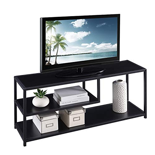 HOME BI Versatile TV Stand with 2-Shelf Storage, Entertainment Center Media Console Table for TV's up to 50', Black