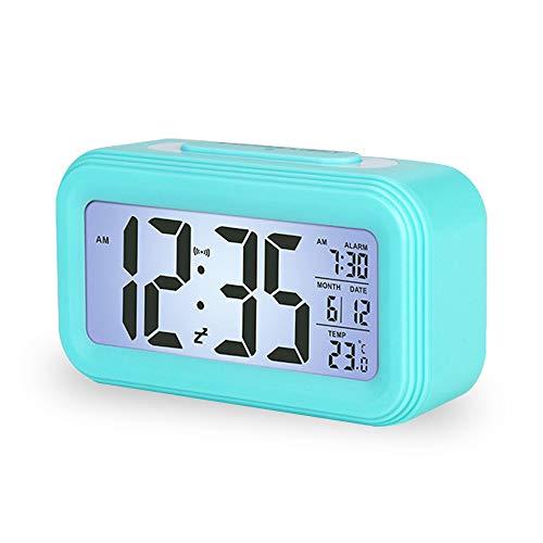 Enllonish Smart Digital Wecker Snooze 5 Minuten, Digital-Wecker mit Extra großem Display, Snooze, Datumsanzeige, Temperatur, Reiseuhr für Kinder Studenten und Erwachsene, Blau