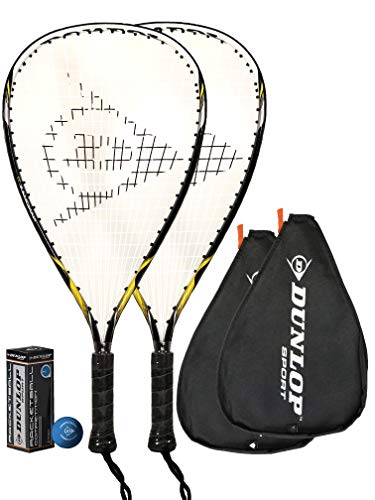 2 x Dunlop Nanomax Ti Raquetbol Raquetas + 3 dunlop Esferas
