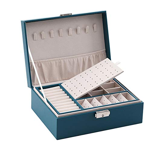 Lasamot Portagioie multifunzionale Cofanetto in pelle PU Cofanetto a doppio strato Custodia per gioielli ad alta capacità Custodia per anelli Orecchini Collana