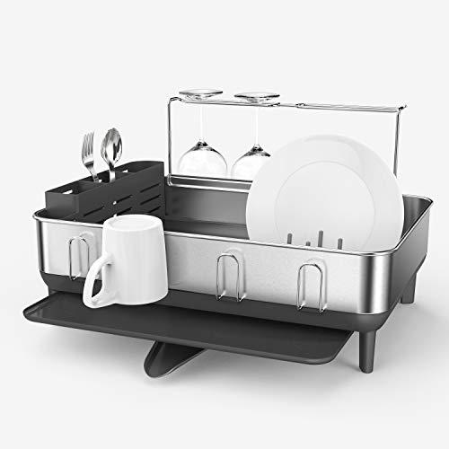 simplehuman Steel Frame Kitchen Drying Swivel Spout, Fingerprint-Proof Dish Rack, Full-Size, Grey...