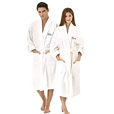 KAUFMAN -  HIS  OR  HERS  EMBROIDERED SHAWL COLLAR ROBE WHITE (Hers (Fuchsia))