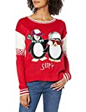 Blizzard Bay Junior's Women's Ugly Christmas Penguin Sweater, Tux Red, Large