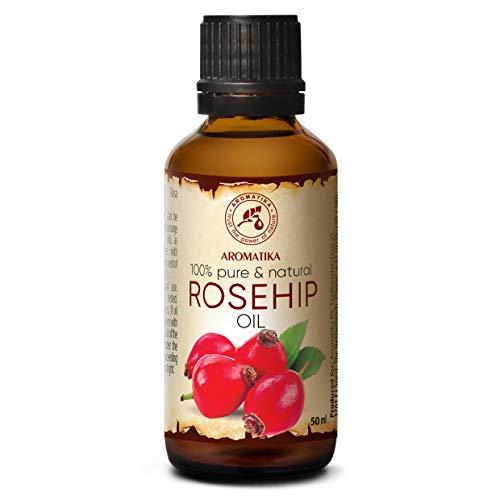 Aceite de Rosa Mosqueta 50ml - Rosa Canina Fruit Oil - Chile - 100% Puro y Natural - Prensado en Frío - Aceite Base - Para Rostro - Cuerpo - Cabello - Belleza - Masaje - Cosméticos - Cuidado Corporal
