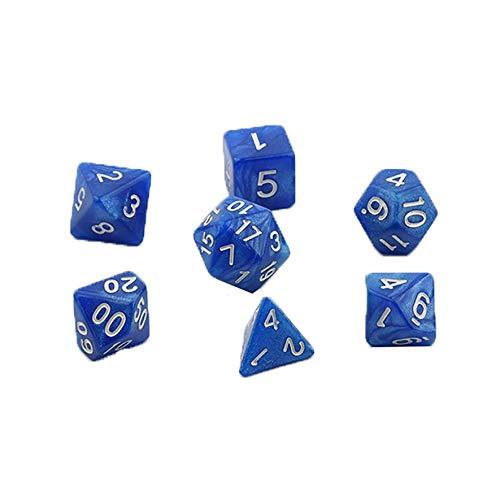 Anam Safdar Butt 7pcs / Set Juegos Dados para Juegos Dados de Varios Lados Accesorios para Juegos de Escritorio Traje de Dados de acrílico multifacético - Azul 1 tamaño