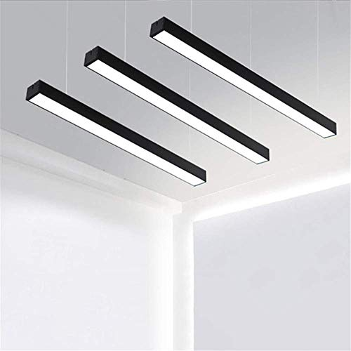 RUNNUP LED Strips Architectural Suspended Direct Indirect Linear Linkable Dimmable Office Light Fixture 32W/3500LM/6000K Commercial Lighting Market Garage Basement Black Finish 47.27inch, 3 Pack
