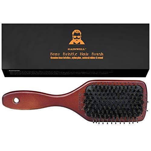 HAARBÜRSTE MIT NATURBORSTEN, Bürste mit Holzgriff, pflegt das Haar und massiert die Kopfhaut, alle Haarlängen GAINWELL