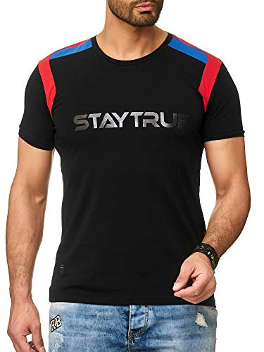 Red Bridge Camiseta Manga Corta para Hombres con Logo Estampado Stay True - T-Shirts Logo Básico Negro