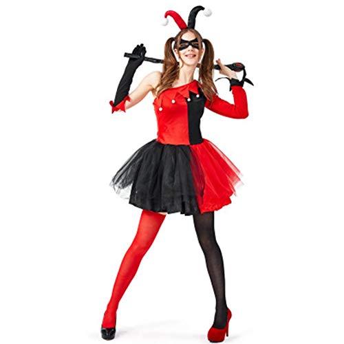 YUW Halloween Adult Costume Circus Clown Cosplay Movie Hero Villain Character, Halle Costume