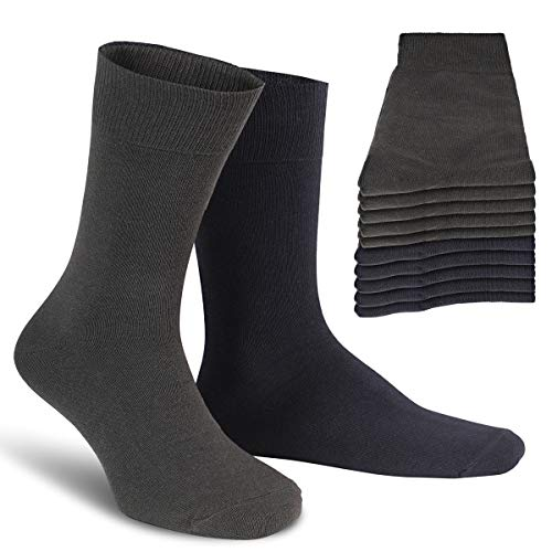 ALL ABOUT SOCKS Socken Herren 39-42 grau blau (10er Pack) Gr. 39 40 41 42 Baumwollsocken nachtblau Herrensocken anthrazit grau Socken Baumwolle