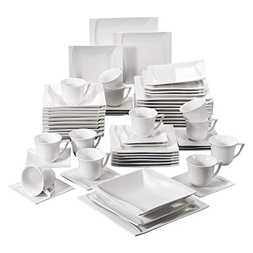 MALACASA, Serie Carina, 60 tlg. Cremeweiß Porzellan Geschirrset Kombiservice Tafelservice mit je 12 Kaffeetassen, 12 Untertassen, 12 Dessertteller, 12 Suppenteller und 12 Flachteller