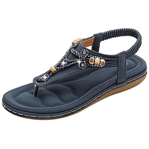 JJZXD Cuentas de Cristal de la Moda de Las Mujeres Zapatillas Planas Sandalias, Zapatos Casuales de Damas, Grosor de la Base 3,5 cm (Size : 39)