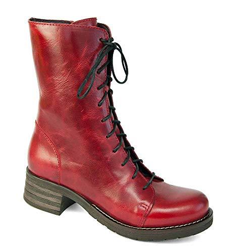 Brako Stiefel Boots 8470 Bolero Rojo Military Leder Rot m. Reißverschluss (36 EU)