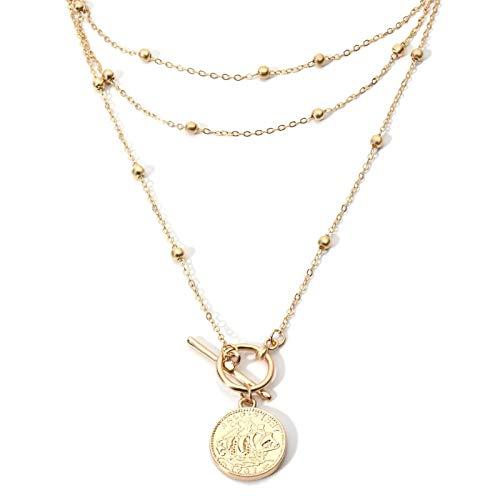 AmDxD Vergoldet Damen Halskette 3 Schichten Geprägtes Porträt Anhänger Statementkette Metallkette Gold 30CM