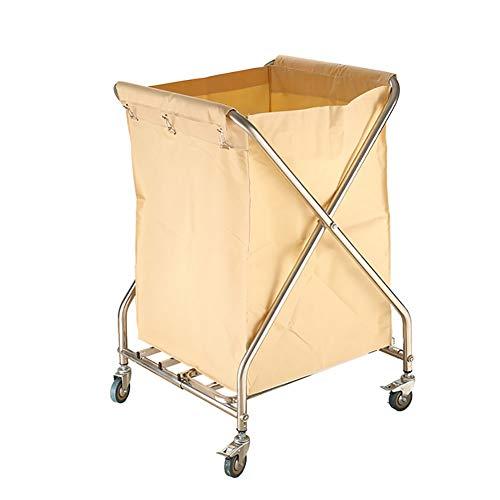 Küchenwagen Klappbarer Wäschesortierwagen mit Rollen, Hochleistungs-Wäschewagen, cremefarbene Leinwand für schmutzige Kleidung, 60 × 62 × 95 cm