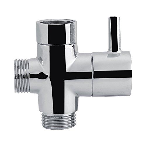 3 vie bidet- Deviatore a T a 3 vie, Valvola di chiusura, per doccia, Toilette Bidet per toilette, Adattatore per acqua, Colore cromato
