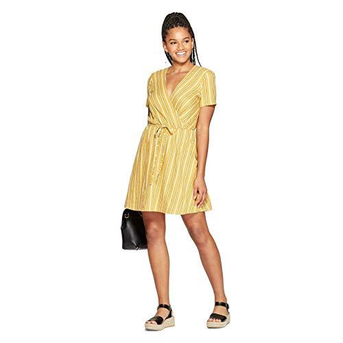 Xhilaration Striped Short Sleeve V Neck Wrap Knit Mini Dress Golden Stripe Medium