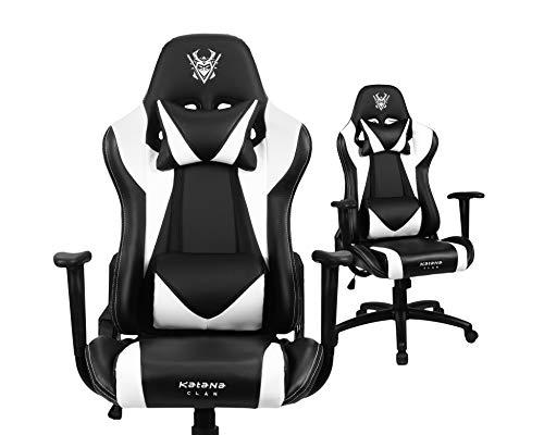 Katana Clan Gaming Stuhl - Sakura mit Armlehne und Einstellbarer Neigungswinkel - Ergonomischer Kübelförmiger Bürostuhl mit Breiten Rückenlehne - Höhenverstellbarer Drehstuhl, Chefsessel - Weiß