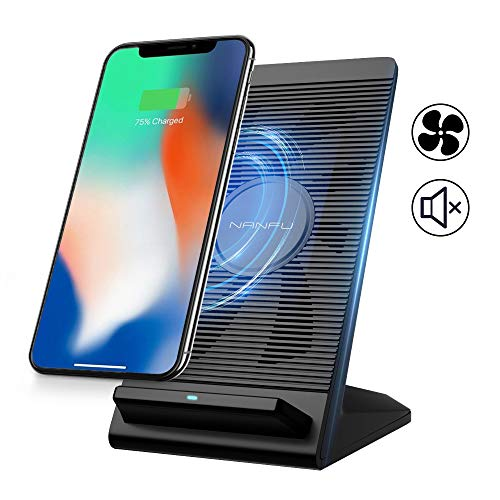 NANFU Fast Wireless Charger, Qi Wireless 7.5W Fast Charging Stand with Cooling Fan Compatible for iPhone XR/XS/XS Max/X/8/8P,10W Charges for Galaxy S9/S9+/S8 & All Other Qi-Certified Devices