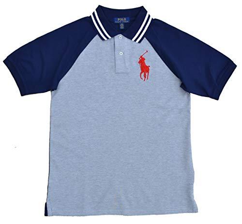 Ralph Lauren Poloshirt für Jungen Big Pony Raglan Polo Blau Grau Größe L (14-16 Jahre)