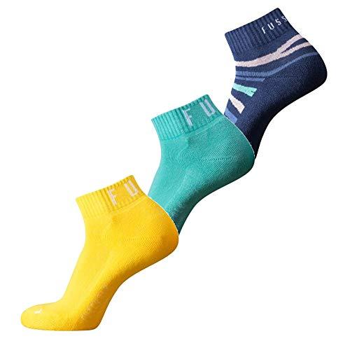 Fussvolk Quarter Socken 3 Paar gelb-mint-blau Sportstrümpfe Ankle Socks 3er, Size:35-38