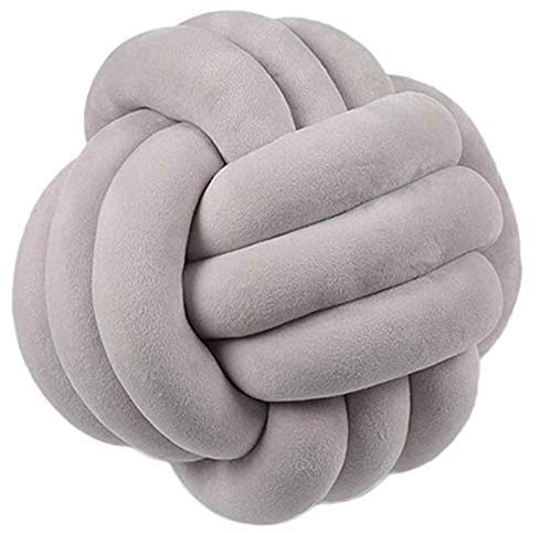 Hava Kolari Knot Kopfkissen Knotenkissen Plüsch Kissen Weiche Geknotetes Kissen Knoten Ball Kissen Dekor Bett Zimmer (20cm Durchmesser,Grau)