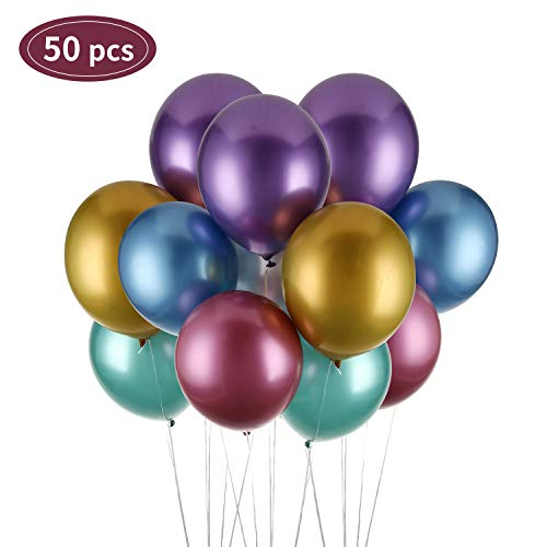 Herefun Luftballons Metallic, 50 Stück Ballons Metallic Latex Metallic Luftballons Bunt Party Luftballons Mit Ballonknoter + Ballonkleber für Deko Geburtstag, Vintage Deko