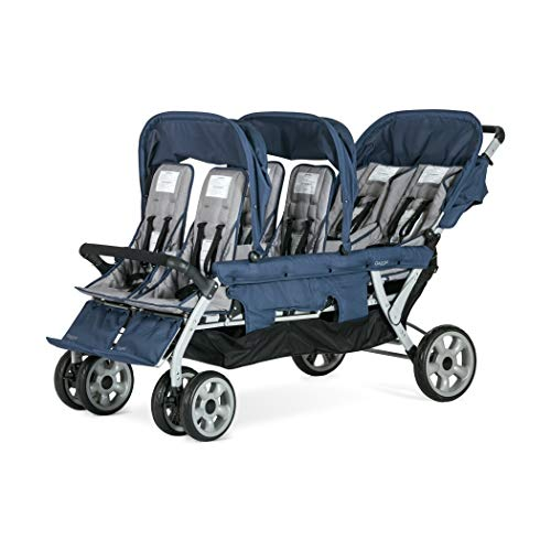 Gaggle Jamboree 6-Seat Folding Multi-Child Tandem Stroller with UV Protection Canopies, Navy/Gray
