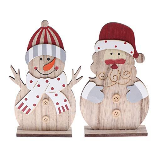 VOSAREA 2pcs Ornements de noël en Bois Bonhomme de Neige Santa Claus décorations de noël décorations de Table Cadeaux de fête de noël