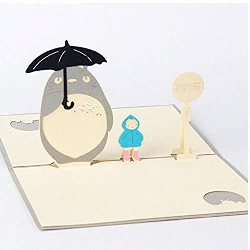 OMMO LEBEINDR Regalos del día de Padre, Birhtday Día de la Madre Hecha a Mano 3D Pop Up Mi Vecino Totoro Cumpleaños Feliz Pascua de Navidad de Halloween Día de la Madre Tarjeta de Regalo de 10x15 cm