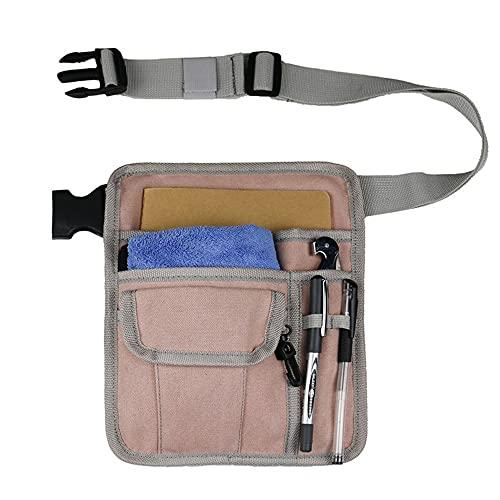 Delantal para servidor de restaurante para camarero, camarera, cinturón de utilidad, riñonera, organizador de bolsillo para libro de visitas, tableta, billetera, soporte para camareros(Color:Pink)