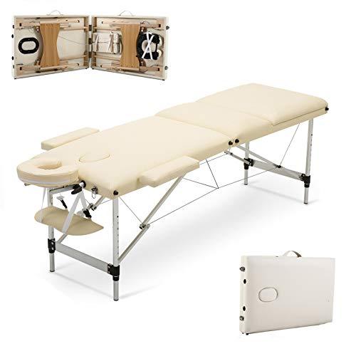 Mobile Massagetisch Massagetisch Massagebank Tragbar mit Tragetasche 3 Zonen Größe 186x62x60-85cm Aluminiumrahmen Robustes faltbares Massageliege Einfache Installation Beige bis 230kg belastbar