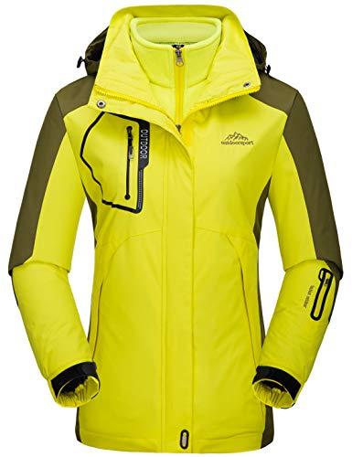 Womens 3 in 1 Insulated Waterproof Yellow Ski Jacket