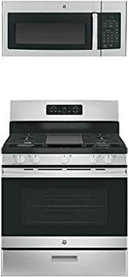 """GE 2-Piece Kitchen Appliance Package with JGBS66REKSS 30"""" Freestanding Gas Range and JVM3160RFSS 30"""" Over the Range Microwave in Stainless Steel"""