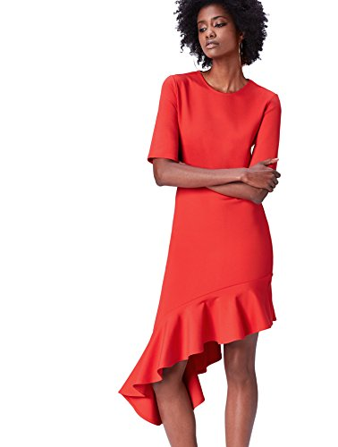 Marca Amazon - find. Vestido con Volante en el Bajo para Mujer, Rojo (Rot), 40, Label: M