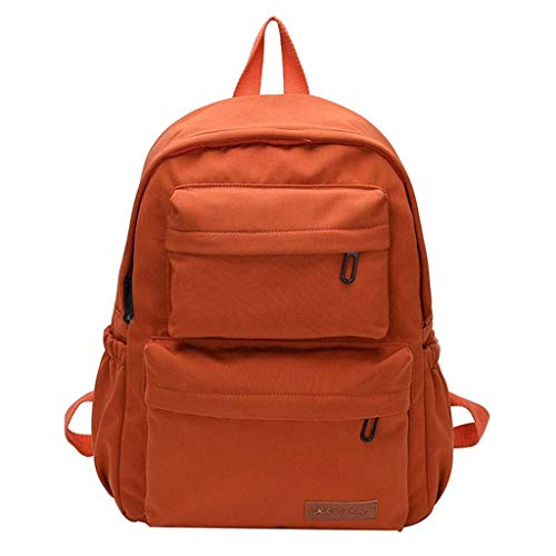 Waterproof Backpack Student School Bags Nylon Large Capacity Women Multi Pocket Female Travel Backpacks for Teenage Girls Boy Best Gift,Orange